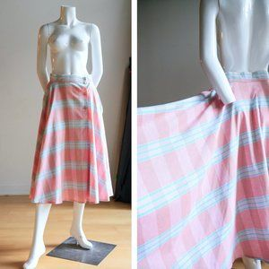 Vintage Pink Cotton Circle Dancing Plaid Skirt